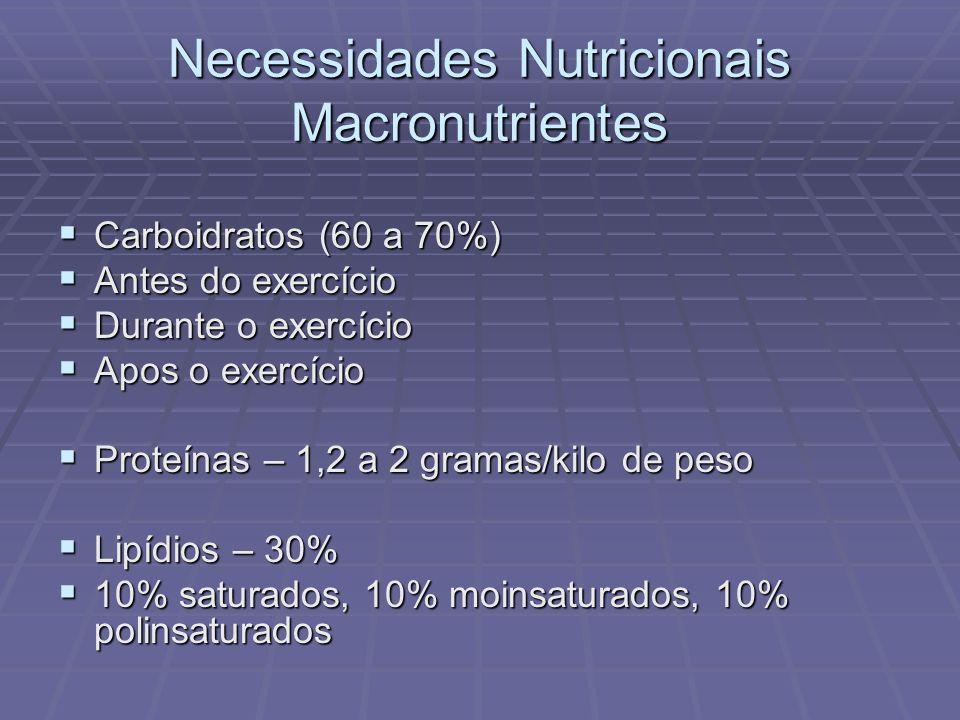 Necessidades Nutricionais Macronutrientes