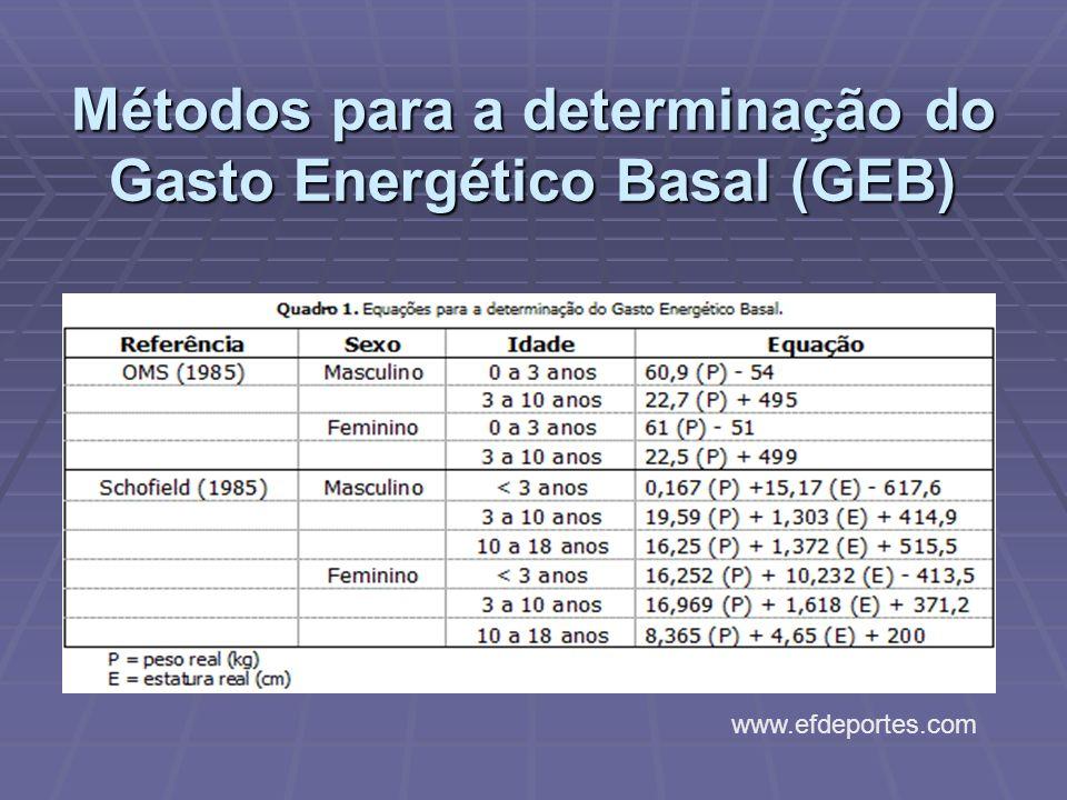 Métodos para a determinação do Gasto Energético Basal (GEB)