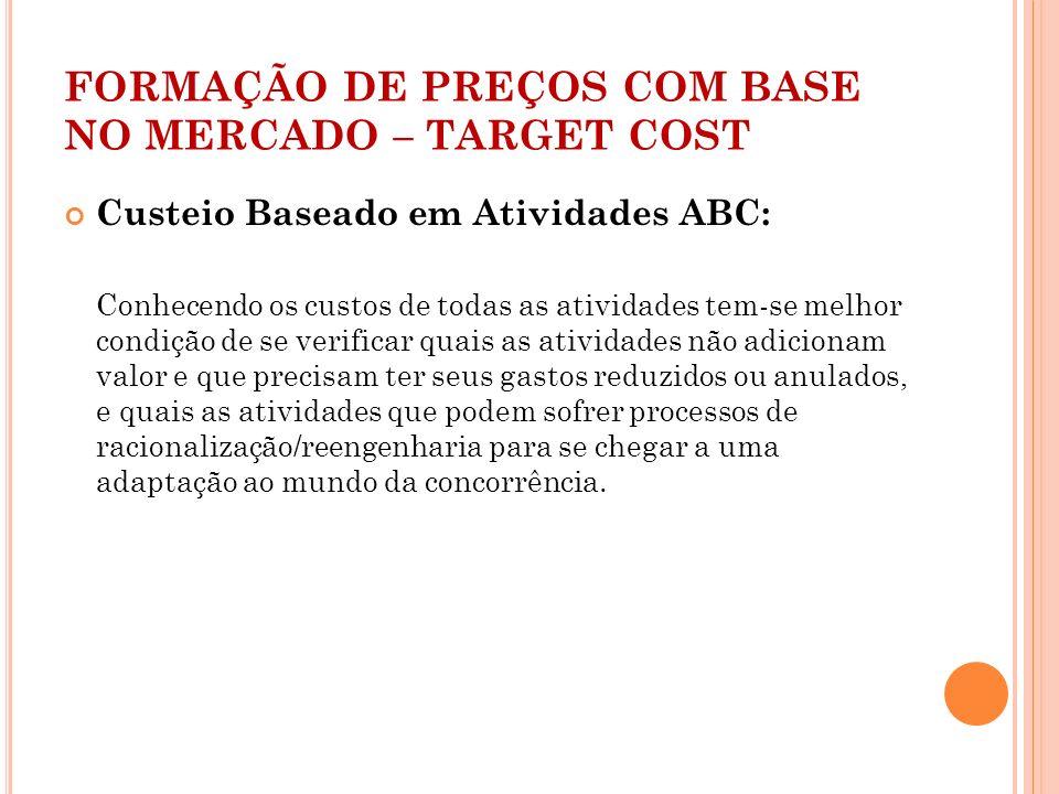 FORMAÇÃO DE PREÇOS COM BASE NO MERCADO – TARGET COST
