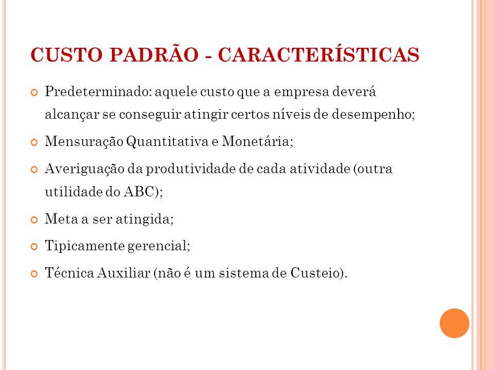 CUSTO PADRÃO - CARACTERÍSTICAS