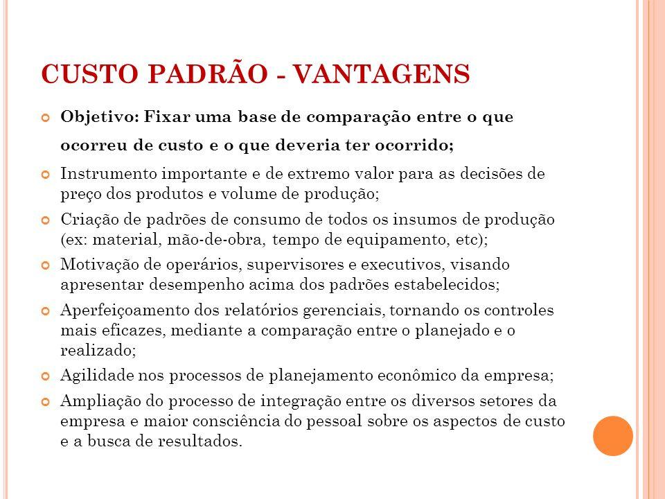 CUSTO PADRÃO - VANTAGENS