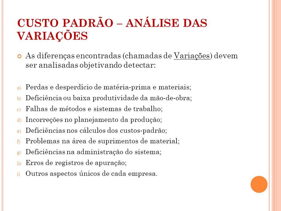 CUSTO PADRÃO – ANÁLISE DAS VARIAÇÕES