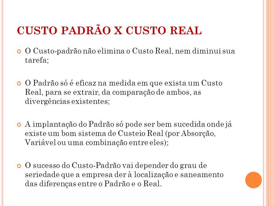 CUSTO PADRÃO X CUSTO REAL
