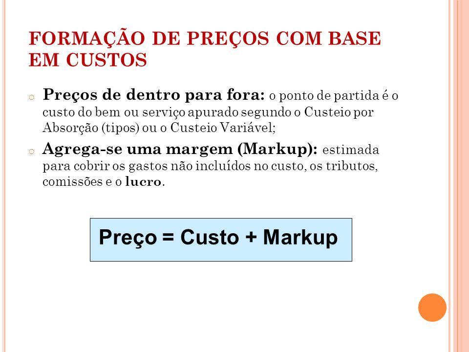 FORMAÇÃO DE PREÇOS COM BASE EM CUSTOS