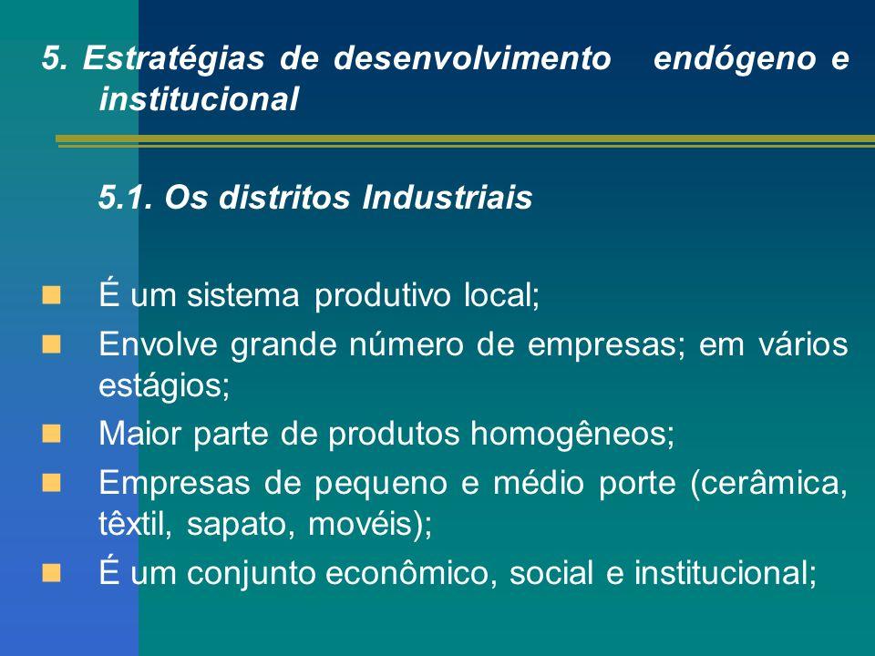 5. Estratégias de desenvolvimento endógeno e institucional