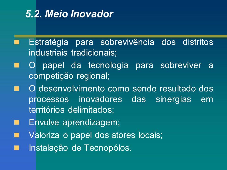 5.2. Meio Inovador Estratégia para sobrevivência dos distritos industriais tradicionais;