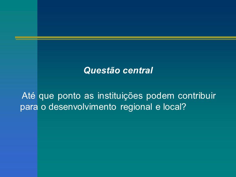 Questão central Até que ponto as instituições podem contribuir para o desenvolvimento regional e local