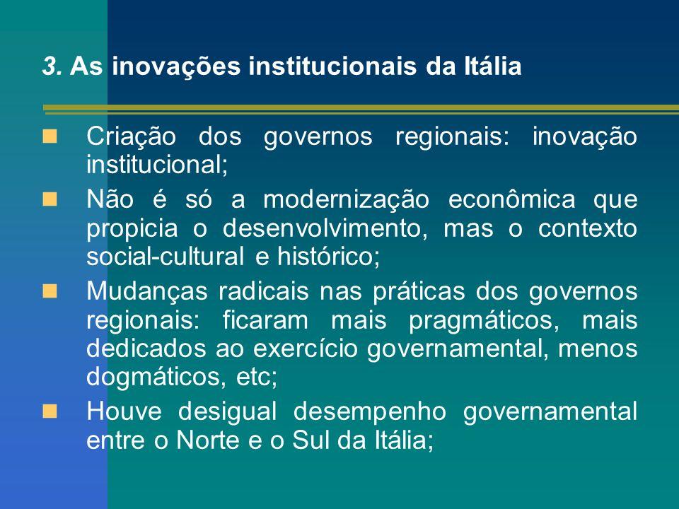 3. As inovações institucionais da Itália