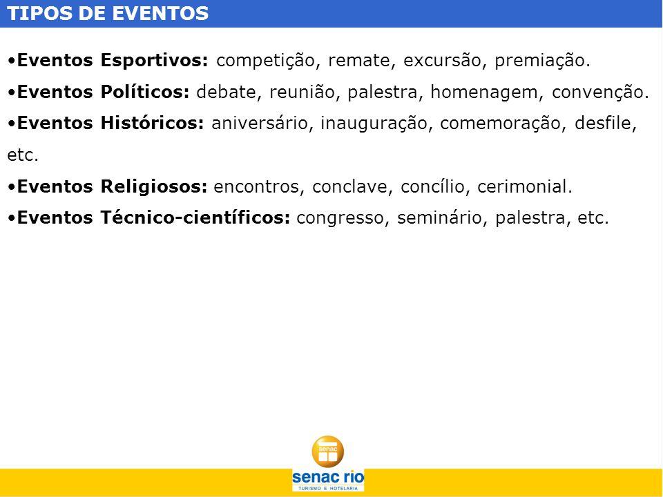 TIPOS DE EVENTOS Eventos Esportivos: competição, remate, excursão, premiação. Eventos Políticos: debate, reunião, palestra, homenagem, convenção.