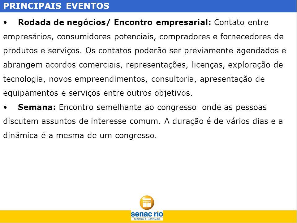 PRINCIPAIS EVENTOS Rodada de negócios/ Encontro empresarial: Contato entre. empresários, consumidores potenciais, compradores e fornecedores de.