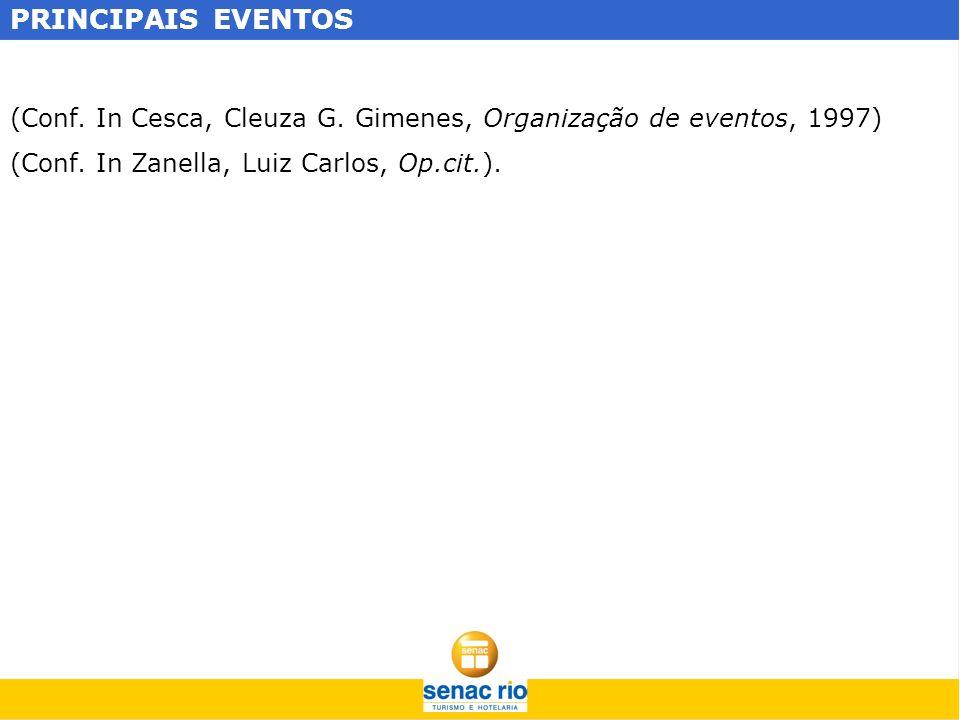 PRINCIPAIS EVENTOS (Conf. In Cesca, Cleuza G. Gimenes, Organização de eventos, 1997) (Conf.