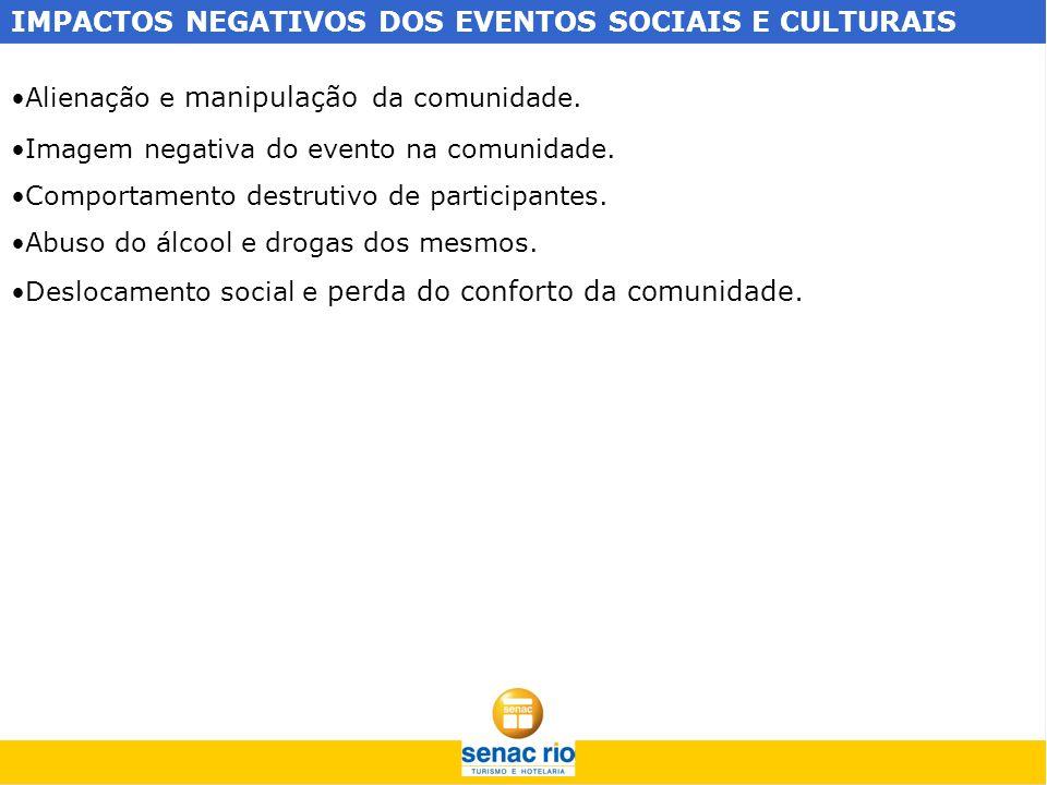 IMPACTOS NEGATIVOS DOS EVENTOS SOCIAIS E CULTURAIS
