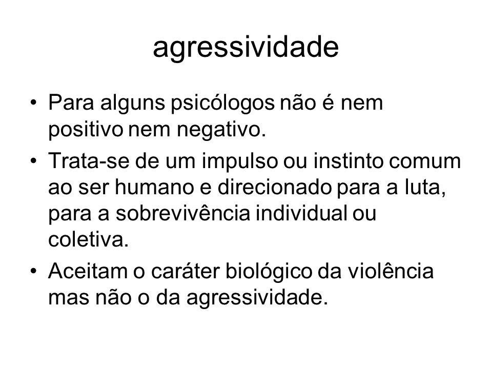 agressividade Para alguns psicólogos não é nem positivo nem negativo.