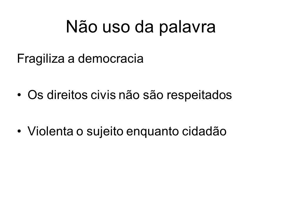 Não uso da palavra Fragiliza a democracia