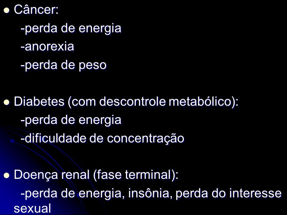Câncer: -perda de energia. -anorexia. -perda de peso. Diabetes (com descontrole metabólico): -dificuldade de concentração.
