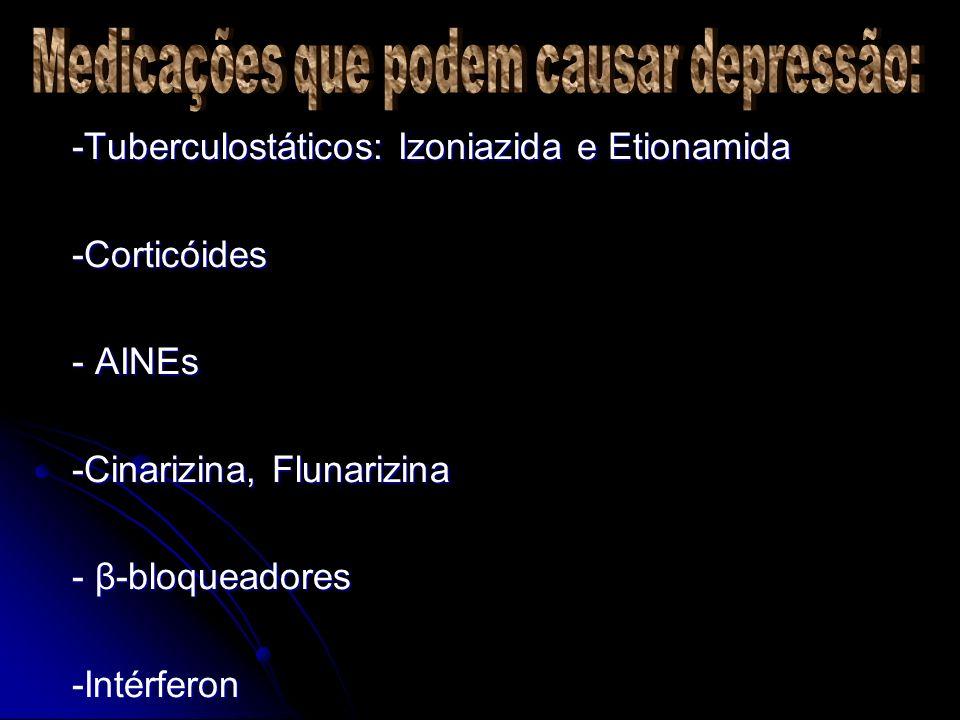 Medicações que podem causar depressão: