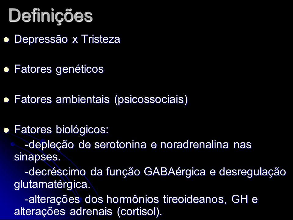 Definições Depressão x Tristeza Fatores genéticos