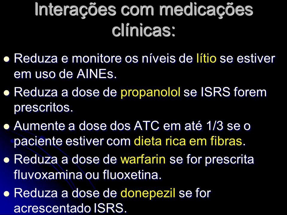 Interações com medicações clínicas: