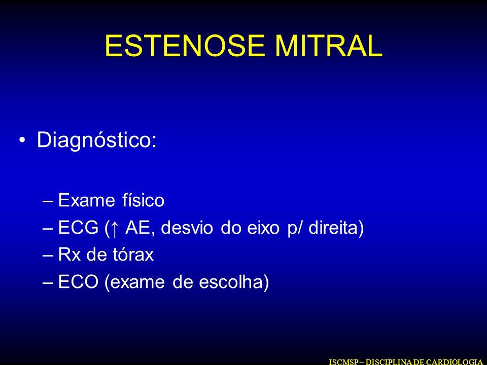 ESTENOSE MITRAL Diagnóstico: Exame físico