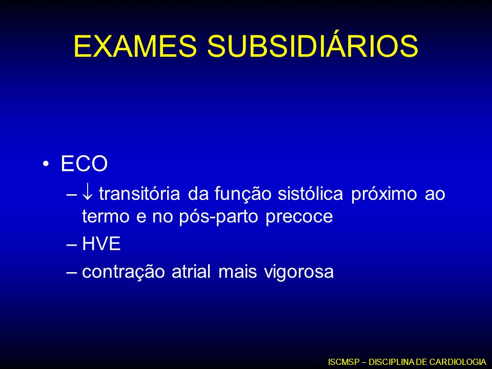 EXAMES SUBSIDIÁRIOS ECO