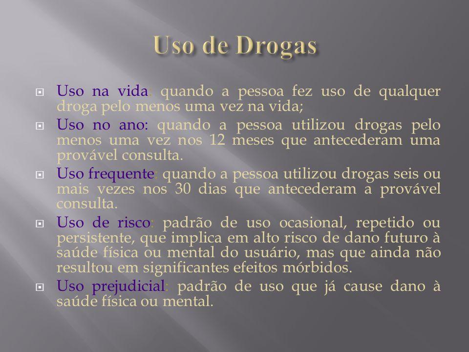 Uso de DrogasUso na vida: quando a pessoa fez uso de qualquer droga pelo menos uma vez na vida;