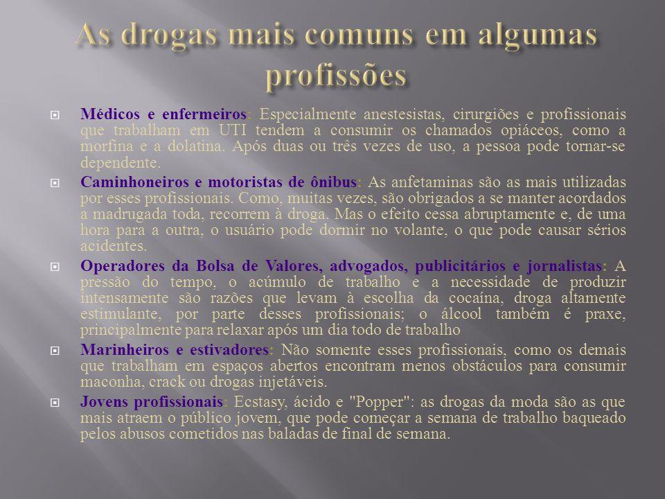 As drogas mais comuns em algumas profissões