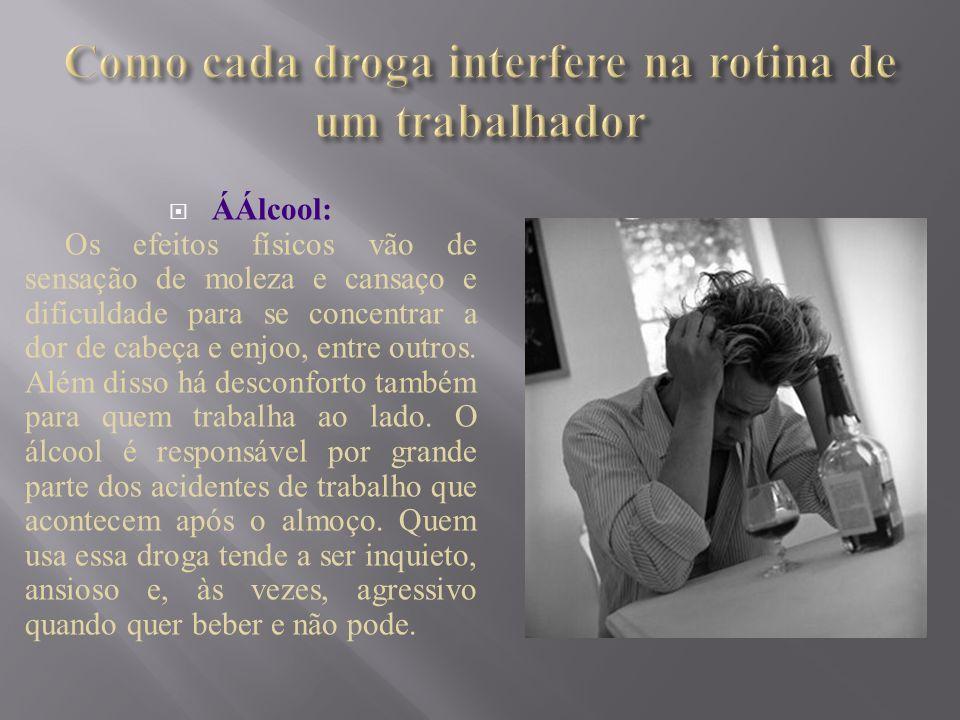Como cada droga interfere na rotina de um trabalhador