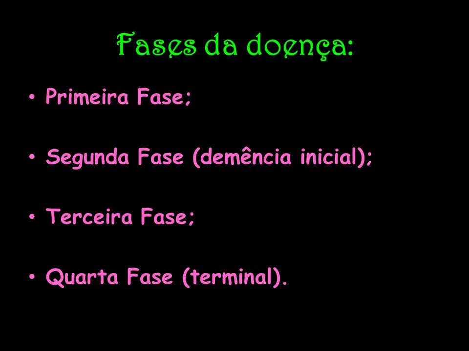 Fases da doença: Primeira Fase; Segunda Fase (demência inicial);