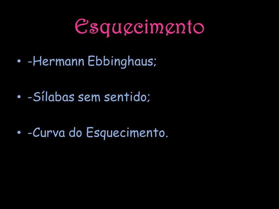 Esquecimento -Hermann Ebbinghaus; -Sílabas sem sentido;