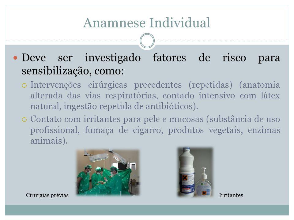 Anamnese Individual Deve ser investigado fatores de risco para sensibilização, como: