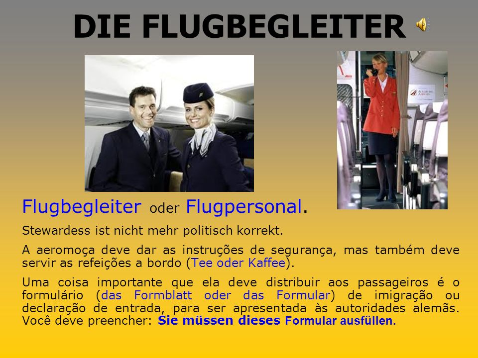 DIE FLUGBEGLEITER Flugbegleiter oder Flugpersonal.