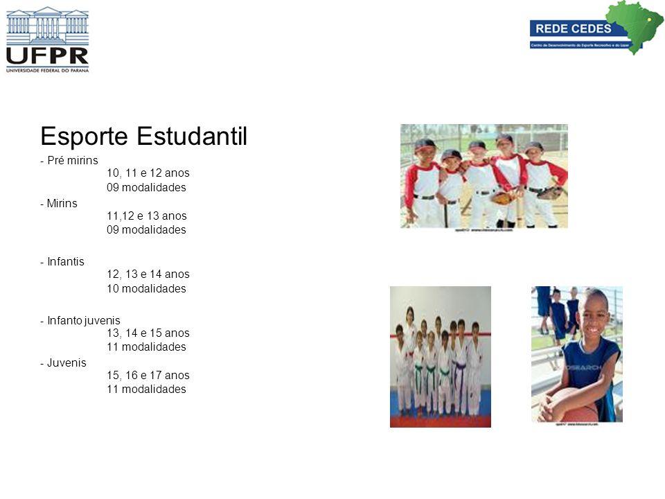 Esporte Estudantil - Pré mirins 10, 11 e 12 anos 09 modalidades