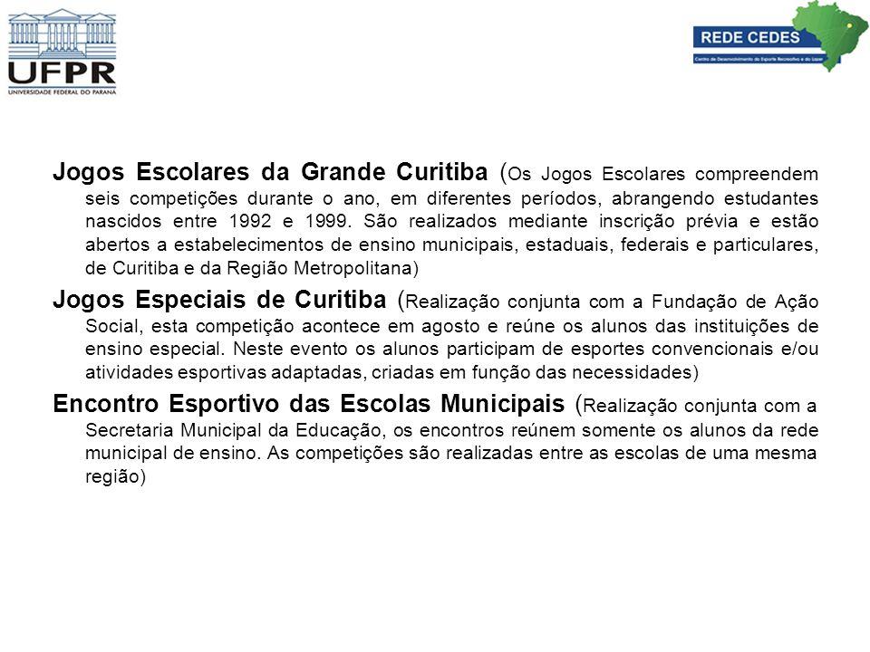 Jogos Escolares da Grande Curitiba (Os Jogos Escolares compreendem seis competições durante o ano, em diferentes períodos, abrangendo estudantes nascidos entre 1992 e 1999. São realizados mediante inscrição prévia e estão abertos a estabelecimentos de ensino municipais, estaduais, federais e particulares, de Curitiba e da Região Metropolitana)