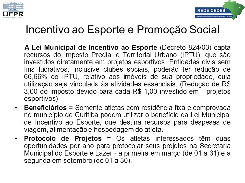 Incentivo ao Esporte e Promoção Social