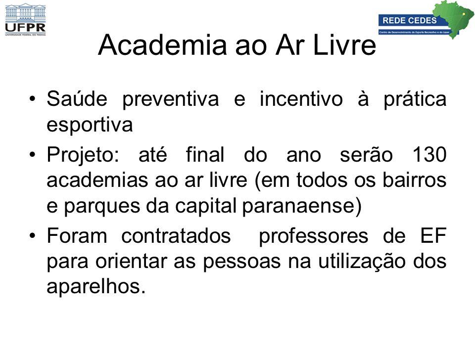 Academia ao Ar Livre Saúde preventiva e incentivo à prática esportiva
