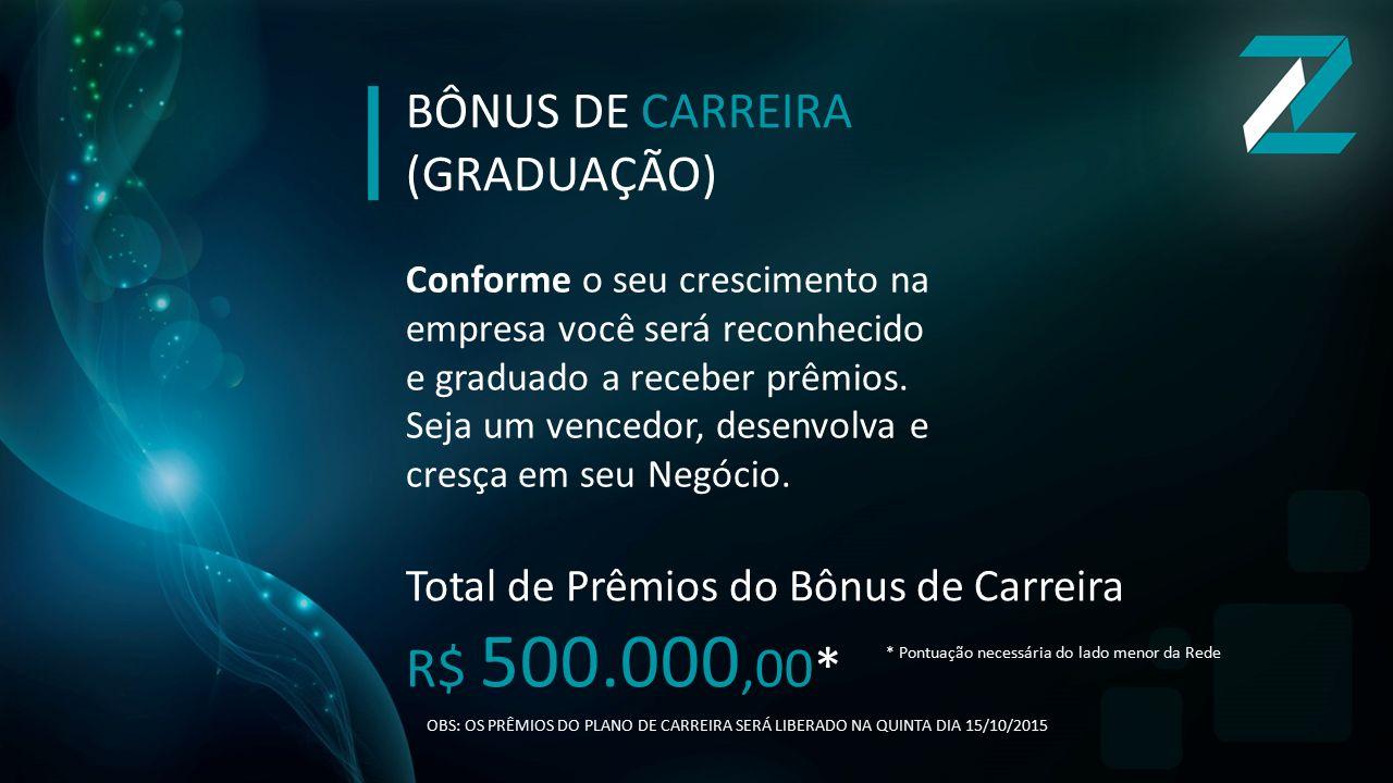 R$ 500.000,00* BÔNUS DE CARREIRA (GRADUAÇÃO)