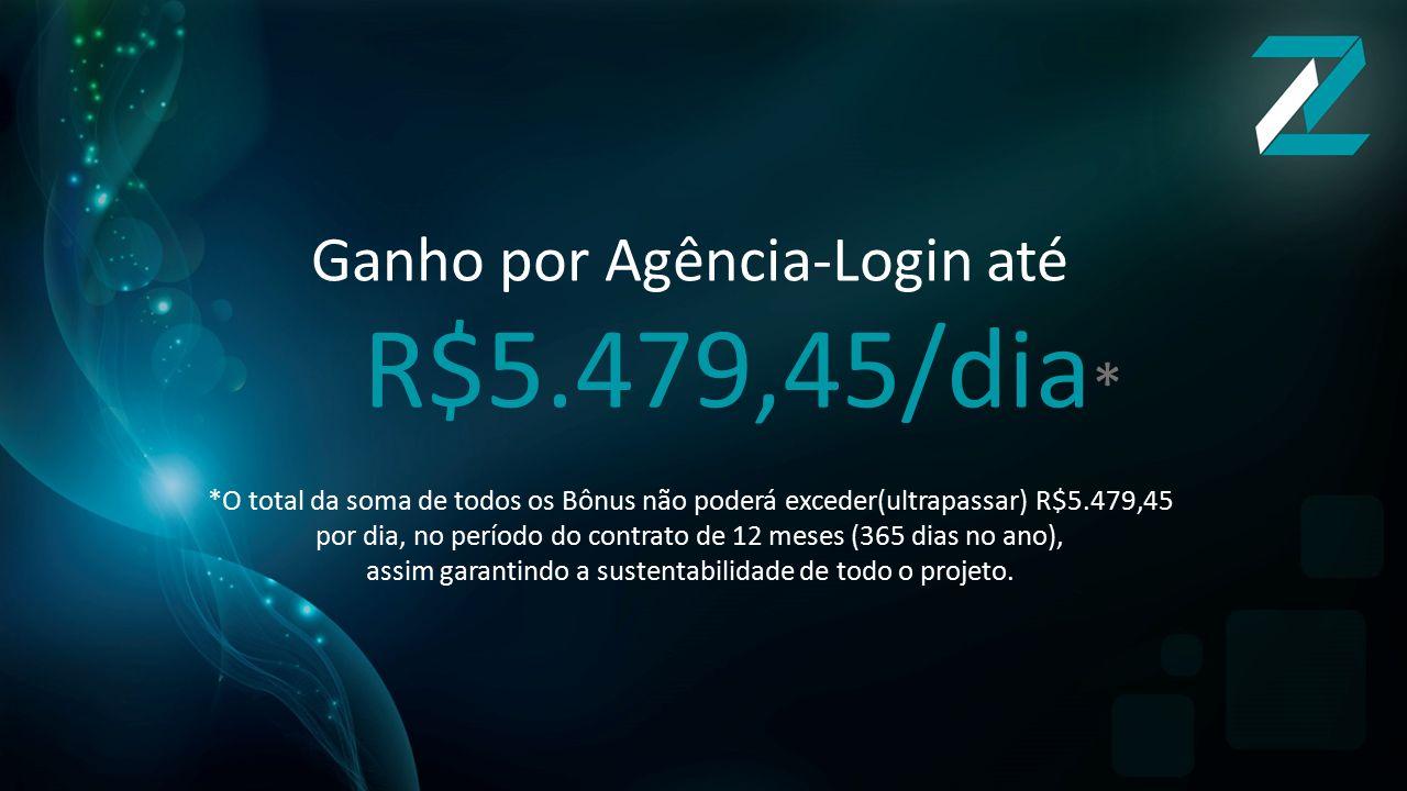 Ganho por Agência-Login até R$5.479,45/dia*