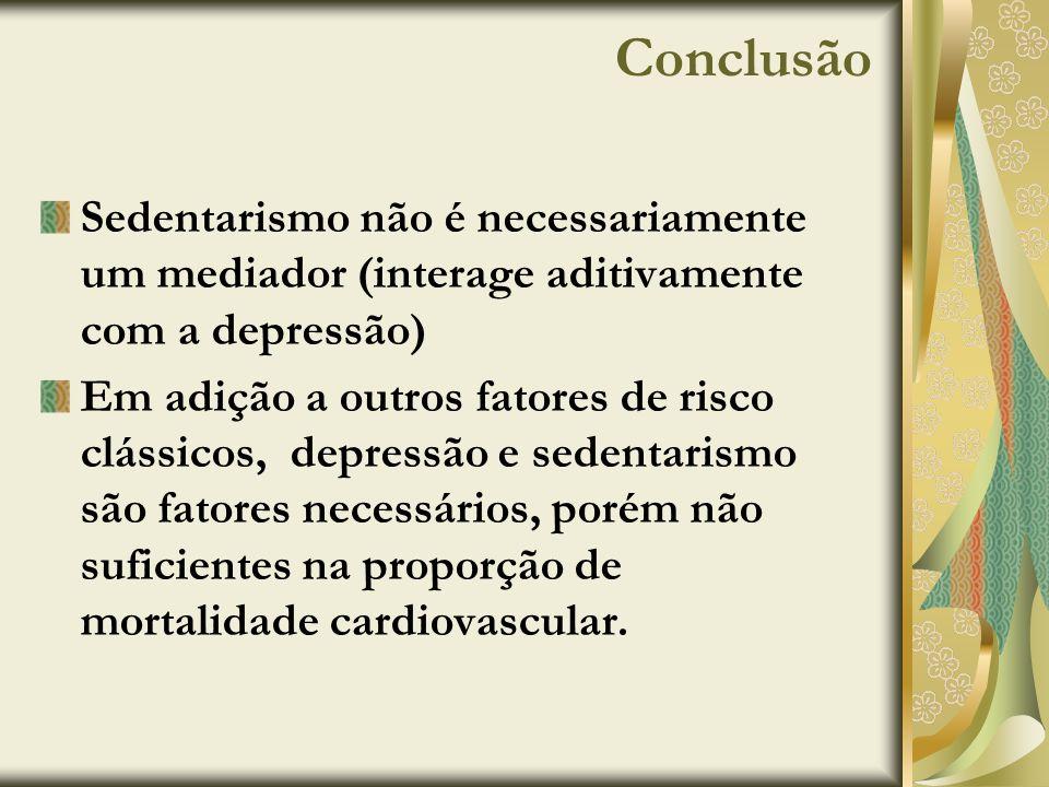 ConclusãoSedentarismo não é necessariamente um mediador (interage aditivamente com a depressão)