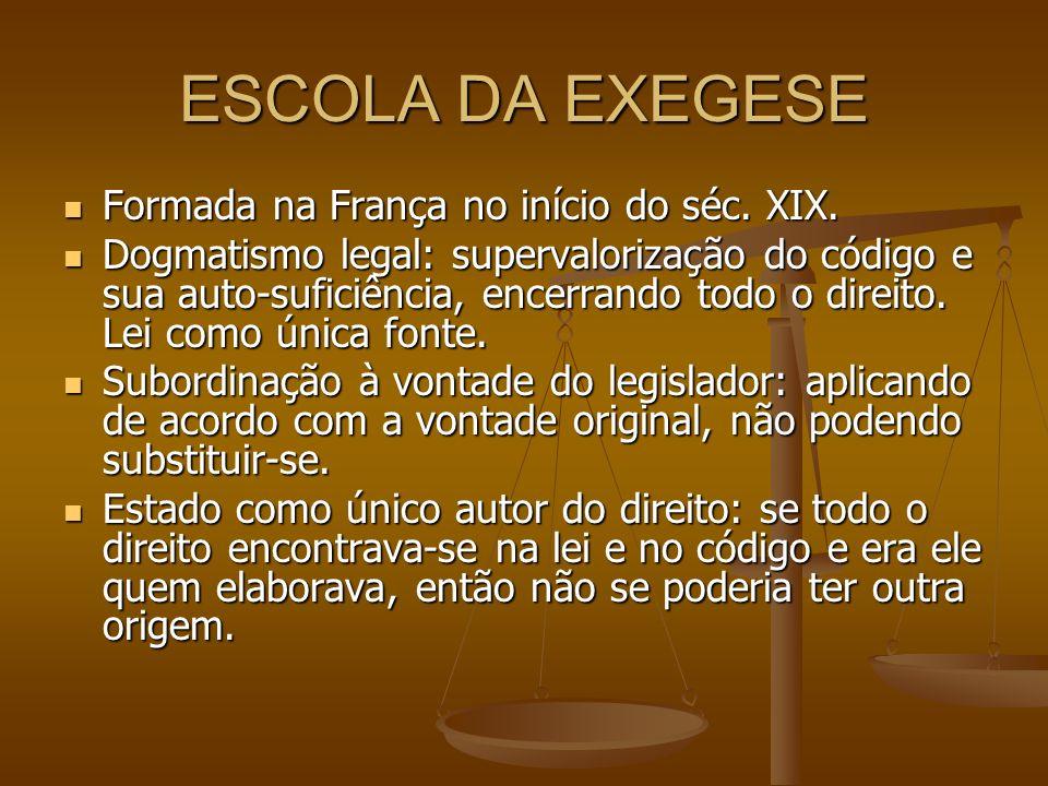 ESCOLA DA EXEGESE Formada na França no início do séc. XIX.