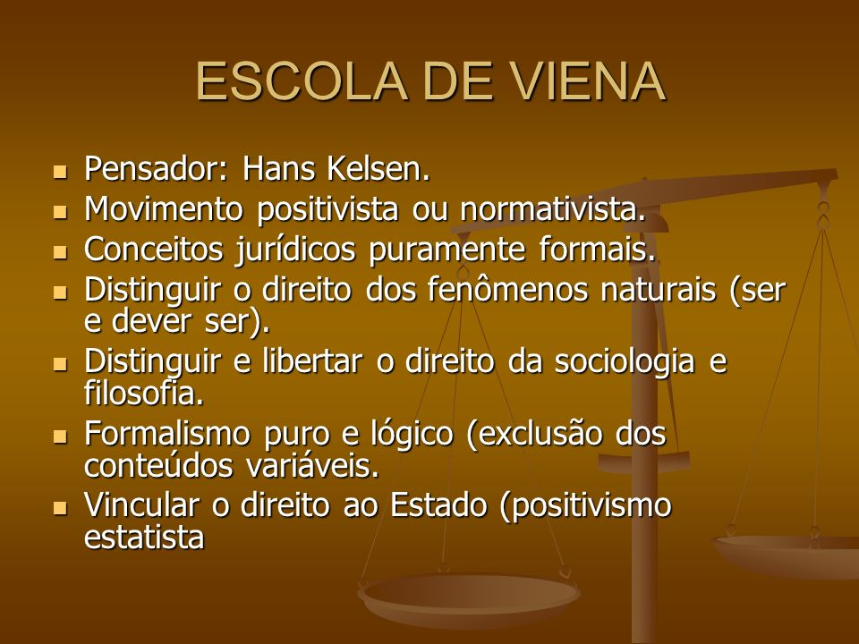 ESCOLA DE VIENA Pensador: Hans Kelsen.