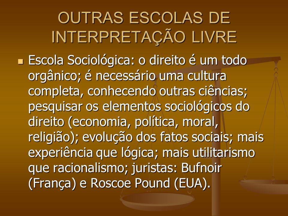 OUTRAS ESCOLAS DE INTERPRETAÇÃO LIVRE