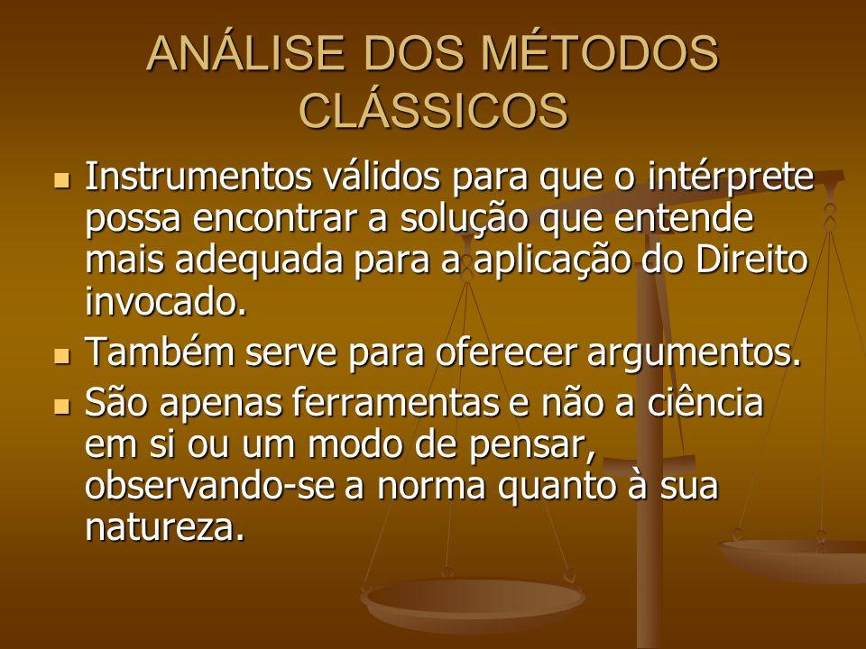 ANÁLISE DOS MÉTODOS CLÁSSICOS