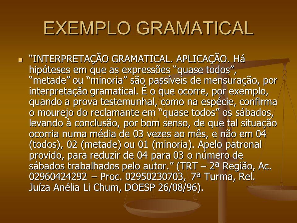 EXEMPLO GRAMATICAL