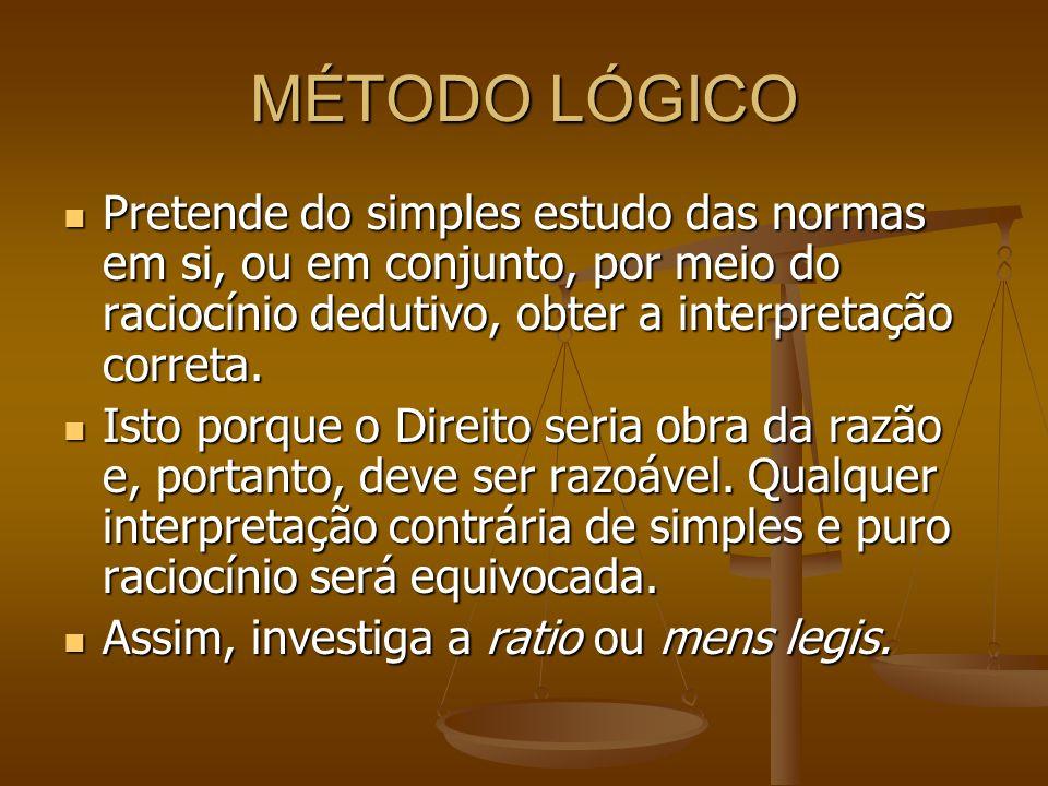 MÉTODO LÓGICO Pretende do simples estudo das normas em si, ou em conjunto, por meio do raciocínio dedutivo, obter a interpretação correta.