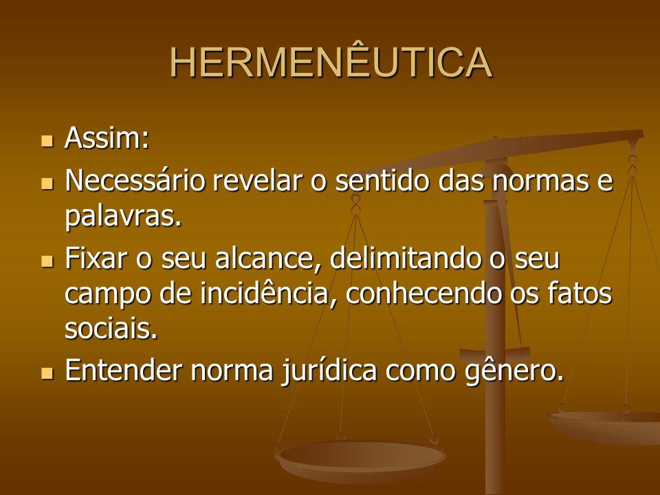HERMENÊUTICA Assim: Necessário revelar o sentido das normas e palavras.