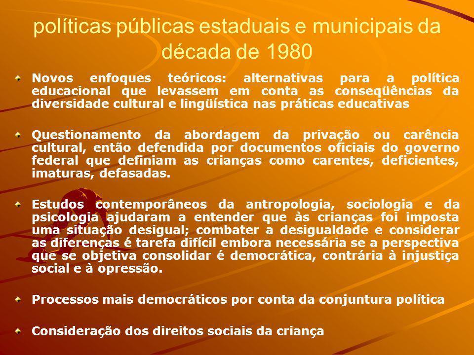 políticas públicas estaduais e municipais da década de 1980