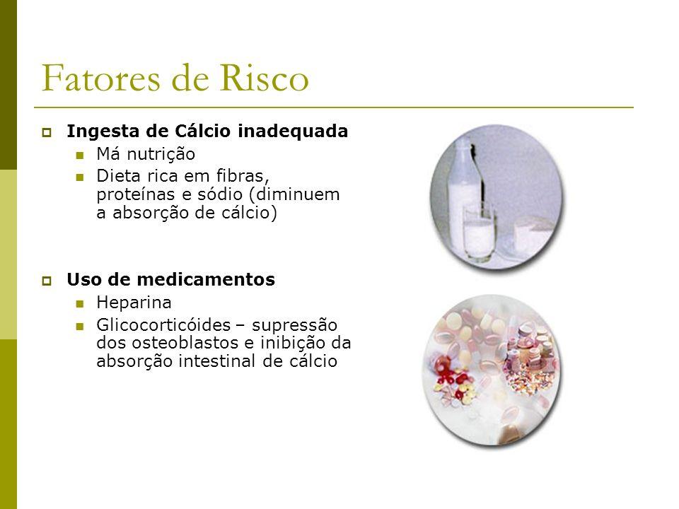 Fatores de Risco Ingesta de Cálcio inadequada Má nutrição