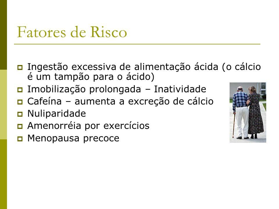 Fatores de Risco Ingestão excessiva de alimentação ácida (o cálcio é um tampão para o ácido) Imobilização prolongada – Inatividade.