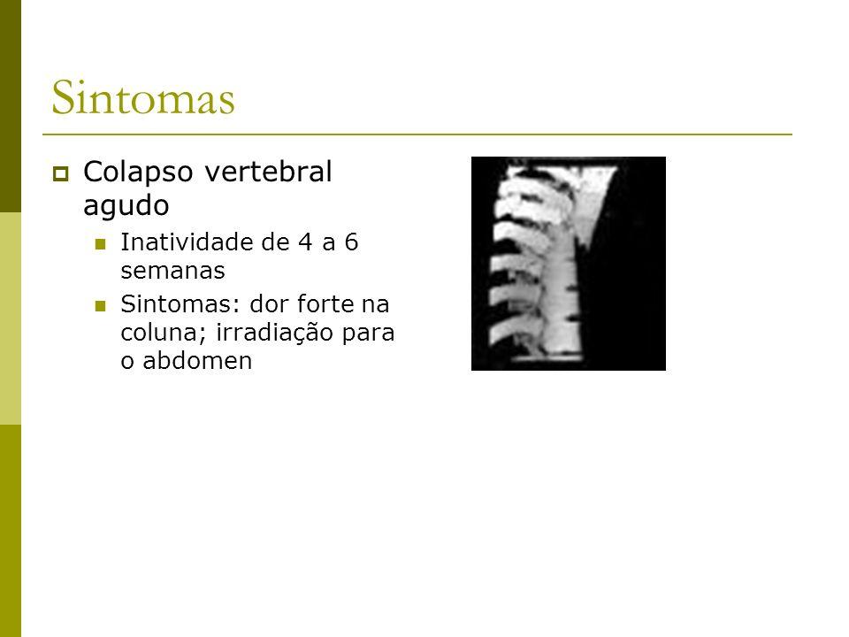 Sintomas Colapso vertebral agudo Inatividade de 4 a 6 semanas