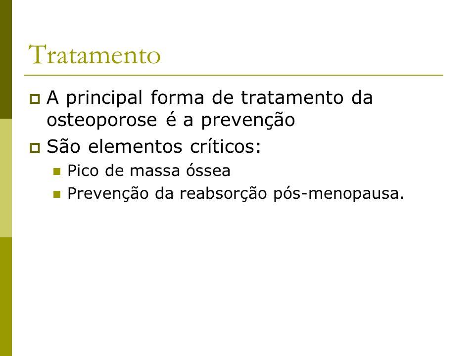 Tratamento A principal forma de tratamento da osteoporose é a prevenção. São elementos críticos: Pico de massa óssea.